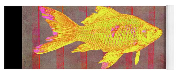 Gold Fish On Striped Background Yoga Mat