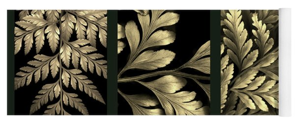 Yoga Mat featuring the photograph Gold Leaf Triptych by Jessica Jenney