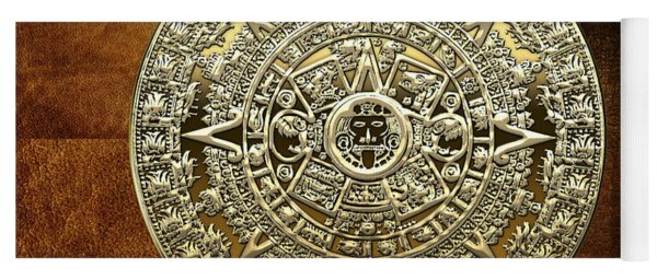 Gold Mayan-aztec Calendar On Brown Leather Yoga Mat