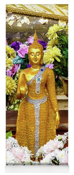 Golden Buddha In The Blessing Position Yoga Mat