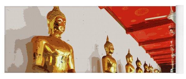 Golden Buddha Statues At Wat Pho Yoga Mat