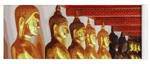 Golden Buddha Statues In A Row Yoga Mat