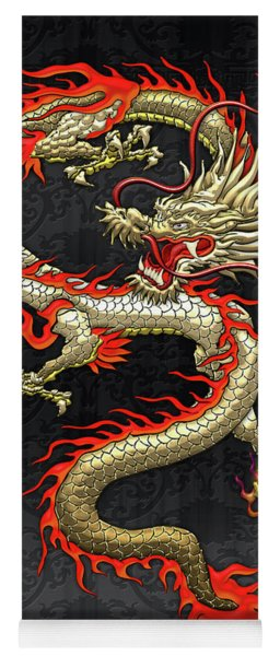 Golden Chinese Dragon Fucanglong On Black Silk Yoga Mat