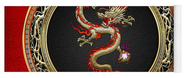Golden Chinese Dragon Fucanglong On Red Leather  Yoga Mat