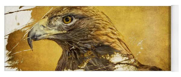 Golden Eagle Grunge Portrait Yoga Mat