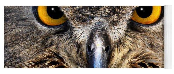 Golden Eyes - Great Horned Owl Yoga Mat
