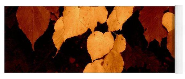 Golden Fall Leaves Yoga Mat