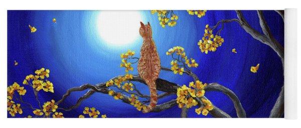 Golden Flowers In Moonlight Yoga Mat