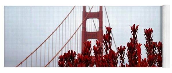 Golden Gate Bridge Red Flowers Yoga Mat