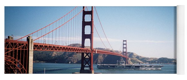 Golden Gate Bridge With Aircraft Carrier Yoga Mat