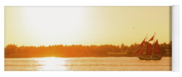 Golden Hour Sailing Ship Yoga Mat