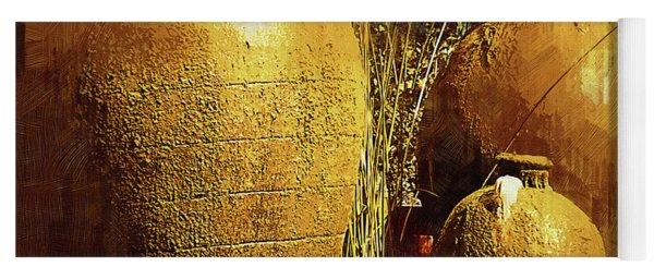 Golden Large Fountain Urns Yoga Mat