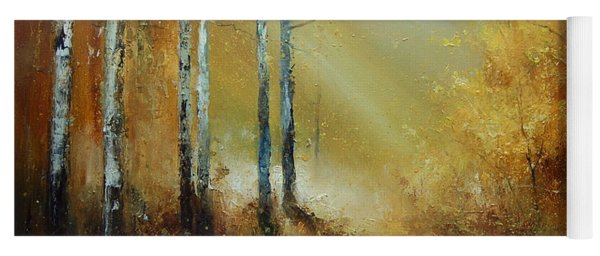 Golden Light In Autumn Woods Yoga Mat