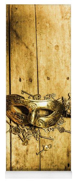 Golden Masquerade Mask With Keys Yoga Mat