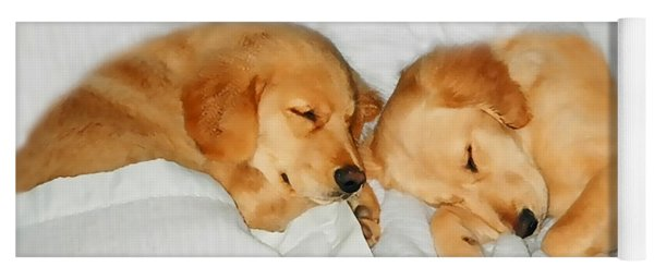 Golden Retriever Dog Puppies Sleeping Yoga Mat