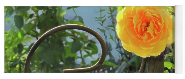 Yoga Mat featuring the photograph Golden Ruffled Rose On Iron Trellis by Nancy Lee Moran