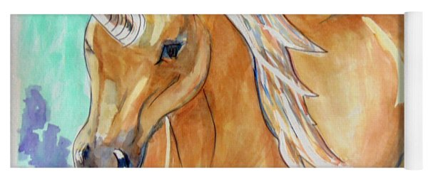 Yoga Mat featuring the painting Golden Unicorn by Loretta Nash