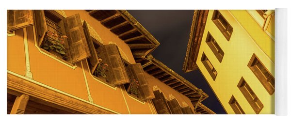 Golden Yellow Night - Chic Zigzags Of Oriel Windows And Serrated Roof Lines Yoga Mat