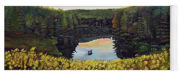 Yoga Mat featuring the painting Goldenrods On Davenport Lake-ellijay, Ga  by Jan Dappen