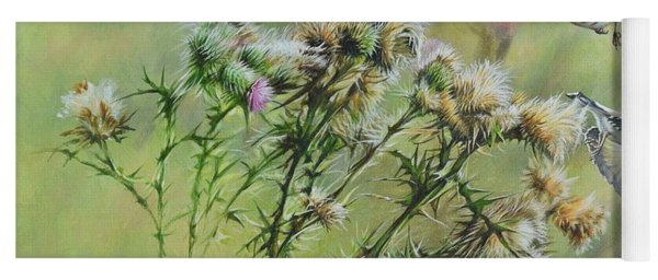 Goldfinches On Thistle Yoga Mat