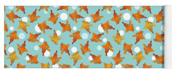 Goldfish And Bubbles Pattern Yoga Mat
