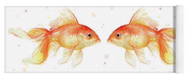 Goldfish Love Watercolor Yoga Mat