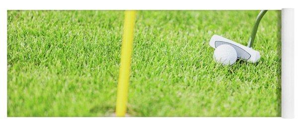 Golf Ball And Club Before Hitting Close Up. Yoga Mat