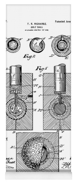 Golf Ball Patent Drawing White Yoga Mat