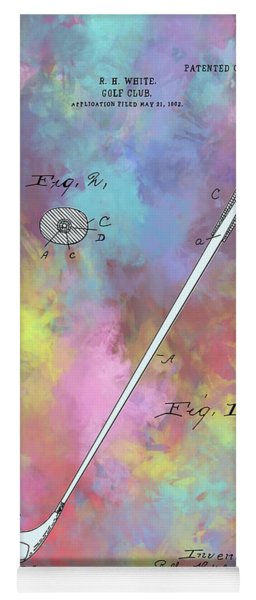 Golf Club Patent Drawing Color Yoga Mat