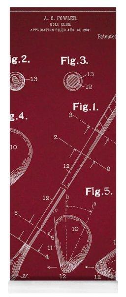 Golf Club Patent Drawing Dark Red Yoga Mat