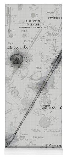 Golf Club Patent Drawing Grey 3 Yoga Mat