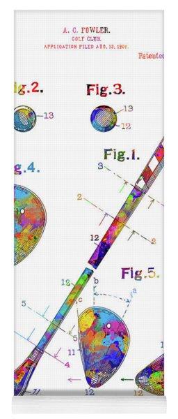Golf Club Patent Drawing Watercolor Yoga Mat