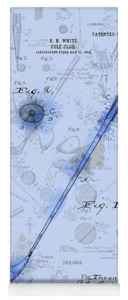 Golf Club Patent Drawing Watercolor Blue Yoga Mat