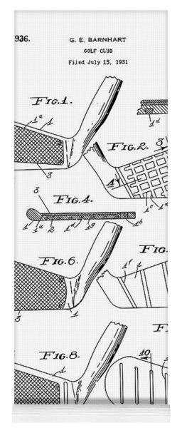 Golf Club Patent Drawing White 3 Yoga Mat