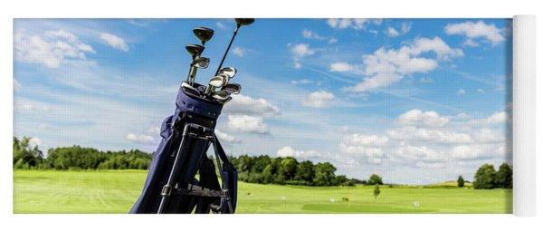 Golf Equipment Bag Standing On A Course. Yoga Mat