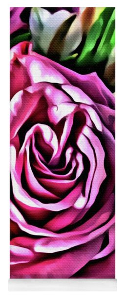 Yoga Mat featuring the painting Gracious Rose by Marian Palucci-Lonzetta