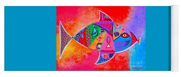Graffiti Fish Yoga Mat