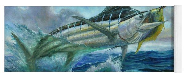 Grand Blue Marlin Jumping Eating Mahi Mahi Yoga Mat