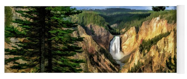 Grand Canyon Of The Yellowstone Waterfall Yoga Mat