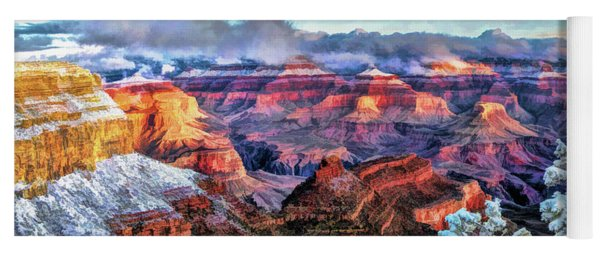 Yoga Mat featuring the painting Grand Canyon Snow by Christopher Arndt