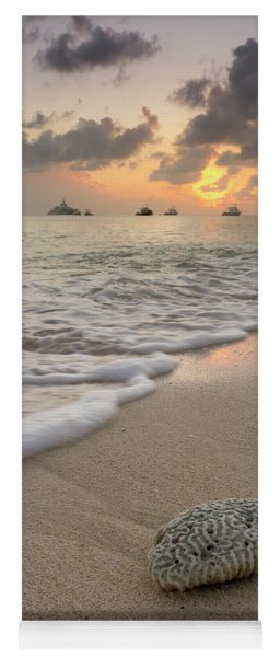 Yoga Mat featuring the photograph Grand Cayman Beach Coral At Sunset by Adam Romanowicz