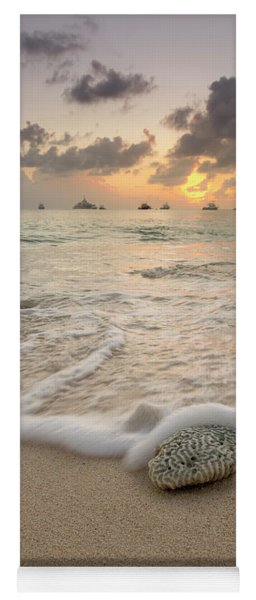 Yoga Mat featuring the photograph Grand Cayman Beach Coral Waves At Sunset by Adam Romanowicz