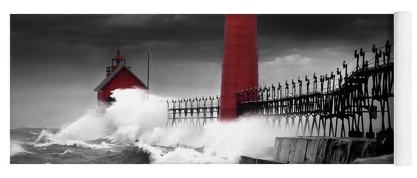 Grand Haven Lighthouse In A Rain Storm Yoga Mat