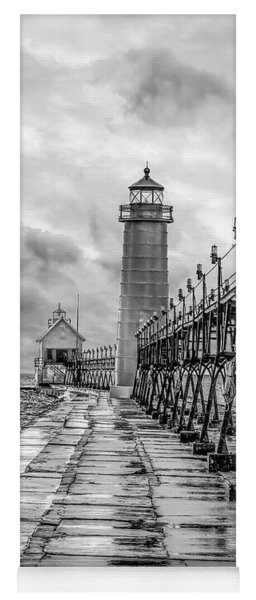Grand Haven Lighthouse - Monochome Yoga Mat