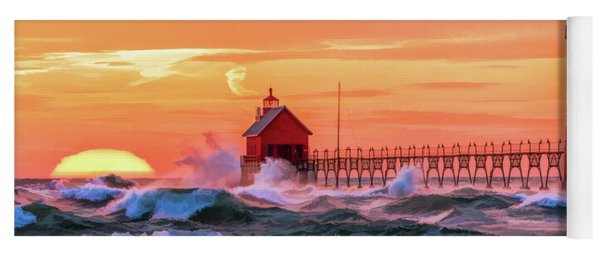Yoga Mat featuring the painting Grand Haven Lighthouses by Christopher Arndt