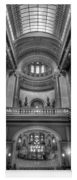 Grand Staircase Illinois State Capitol B W Yoga Mat