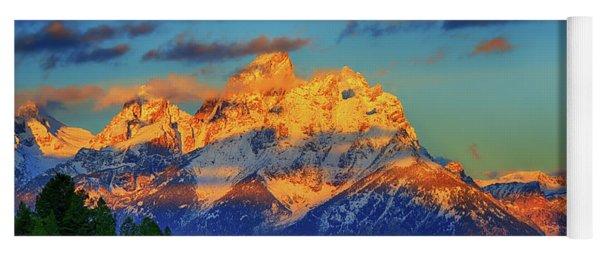 Grand Teton Alpenglow Yoga Mat