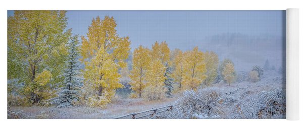 Grand Teton Fall Snowfall Scene Yoga Mat
