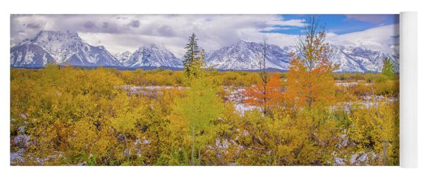 Grand Teton Fall Snowfall Yoga Mat