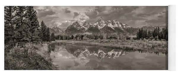 Grand Teton Monochromatic Panoramic Yoga Mat